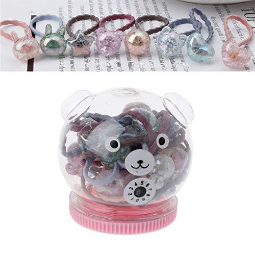 Sconosciuto Generic 20pcs/Box Cute Bunny Star Princess Headwear Elastic Hair Bands Girls Sparking Mini Headdress Tie Gum Ropes Hair Accessories F