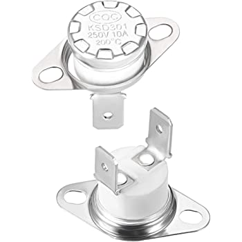 uxcell KSD301 Thermostat Adjust Snap Disc Limit Control Switch Microwave Thermostat Thermal Switch 40/°C 10A Normally Open N.O 6.3mm Pin 2pcs
