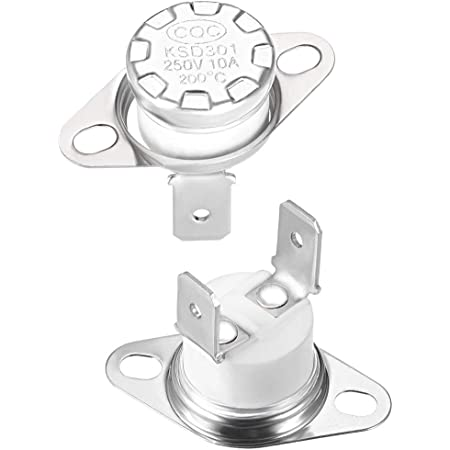 BokWin 2PCS KSD301 Thermostat 75/°C 250V Normally Closed N.C Adjust Snap Disc Limit Control Switch Microwave Thermostat Thermal Switch