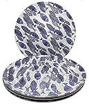 Sigrid Olsen Blue Shibori Fish Plates | Set of 4 | 100% Melamine | Dishwasher Safe | Beach House...