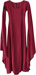 LODDD Women Fall Winter Medieval Gothic Retro Solid Long Sleeve Ball Gowns Maxi Dress