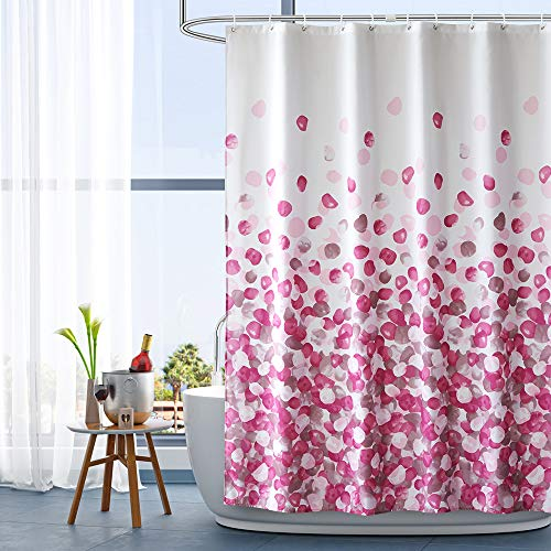 ARICHOMY Pink Shower Curtain Set Bathroom Fabric Curtains Waterproof Colorful Funny with Standard Size 72 by 72 (Pink)