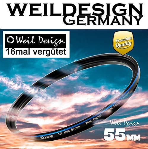 Filter UV slim 55mm XMC Digital Weil Design Germany - SYOOP - * Objektivschutz * blockt ultraviolettes Licht * mit Frontgewinde * 16 fach vergütet XMC * inkl. Filterbox (UV 55mm)
