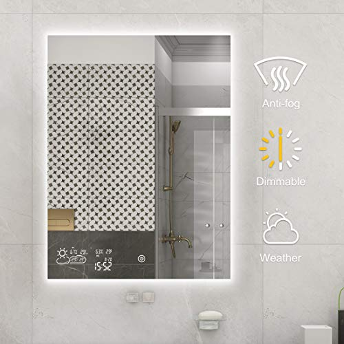 BYECOLD Vertical Vanity Bathroom Mirror with Dimmable LED Light Touch Switch Demister Weather...