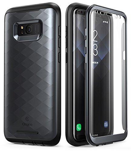 Clayco Samsung Galaxy S8 Hülle [Hera], Ganzkörper Handzhülle Case, Robust Schutzhülle Cover mit Eingebautem Displayschutz für Samsung Galaxy S8, Schwarz