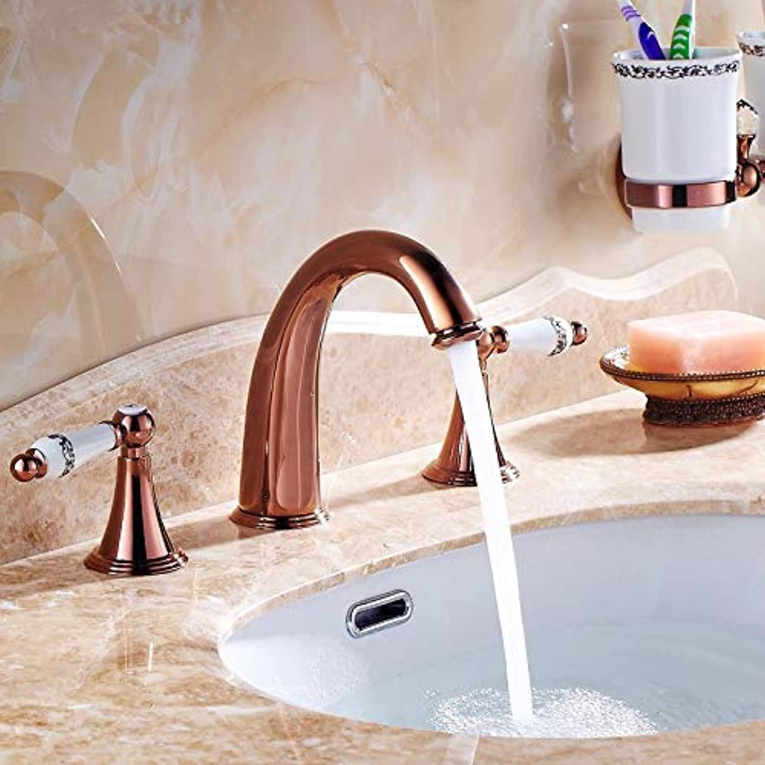 LHbox Basin Mixer Tap Bathroom Sink Faucet All copper european style antique gold three-hole faucet sub-basin and cold water, pink gold