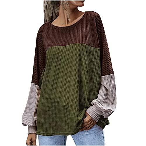 TTivxe Sudadera de manga larga para mujer, para el tiempo libre, para otoño e invierno, blusa, Verde militar., XL