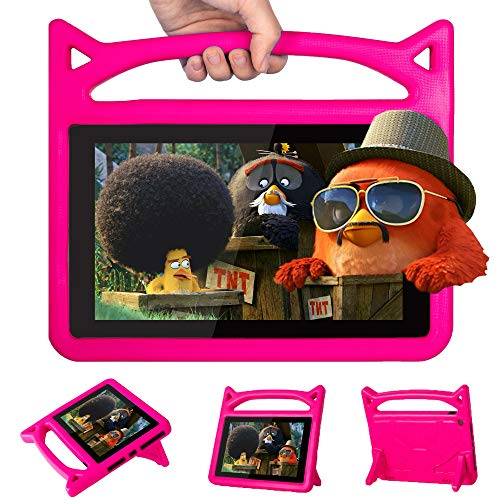 New F i r e HD 10 Kids Case Kids Light Weight Shock Proof Handle and foldable stand Case for A m a z o n F i r e H D 10 Tablet (2017 To 2019 Release) (2017~2019 HD 10, Rose)