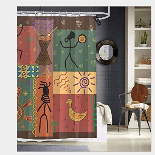 N/A Funky Tribal-Muster zeigt afrikanischen Stil Tanz-Moves Instrumente spiritueller Duschvorhang Stoff Badezimmer Dekor Set mit Haken 167,6 x 182,9 cm, Polyester, einfarbig, 60 x 72 inch