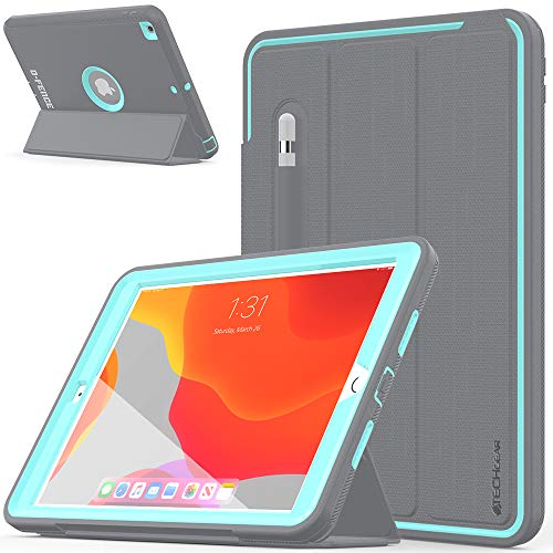 TECHGEAR D-FENCE Case Designed For Apple iPad 10.2' 2020/2019 8th / 7th Generation - Slimline Shockproof Tough Rugged Protective Armour Smart Case + Stand, Schools Builders Workman Kids Case [Aqua]