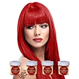 La Riché Directions Lot de 4 tubes de coloration semi-permanente pour cheveux 88 ml (Pillarbox Red)