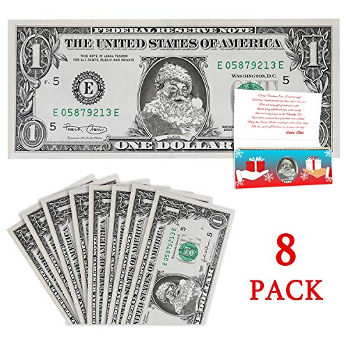 Official Santa Claus Dollar: Value Pack. 8 Santa Dollars and Cards. Perfect Christmas Stocking Stuffer