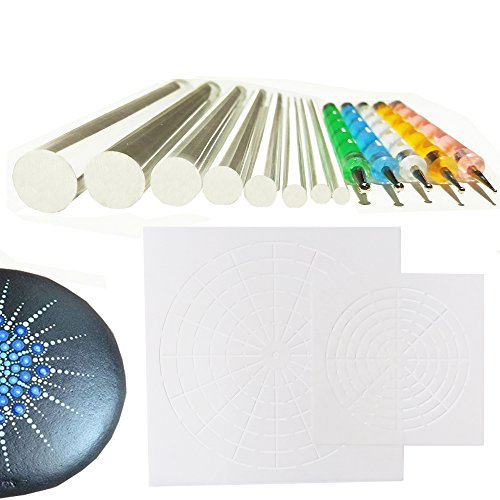 Mandala Rock Stone Painting Pen Dot Dotting Tool Stencil Brush Set 12 PCS Flat Head 3mm 4mm 5mm 6mm 8mm 10mm 12mm 14mm Diameter (set4)