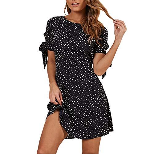 HULKY Vendita di Liquidazione DOT Print Manica Corta Vestito per Le Donne-Womens Elastico Mini Abito Tunica Plissettato Allentato Lace-Up Abiti A-Line Vestito(Nero,Large)