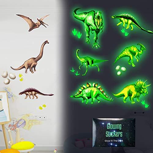 Yeelan Dinosaurier Leuchtsticker Wandtattoo Dino Selbstklebend Wandsticker Leuchtaufkleber Spielzeug Selbstklebende Aufkleber Wandaufkleber DIY Aufkleber für Kindergarten Baby Kinder Schlafzimmer