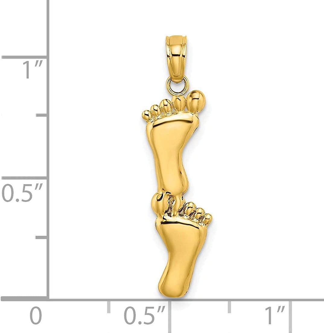 14K Gold Vertical Double Feet Charm Pendant