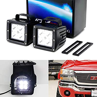 iJDMTOY LED Pod Light Fog Lamp Kit For 2003-06 GMC Sierra 1500, Includes (2) 20W High Power CREE LED Cubes, Foglight Location Mounting Brackets & Wiring/Adapter Harnesses