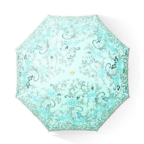 QAZW Parasol Sombrilla Protección UV Bordado Hecho a Mano Lentejuelas Floral Impreso Decorativo Paraguas para Caminar Viajes Playa Boda Fiesta Sesión De Fotos,Green-2fold