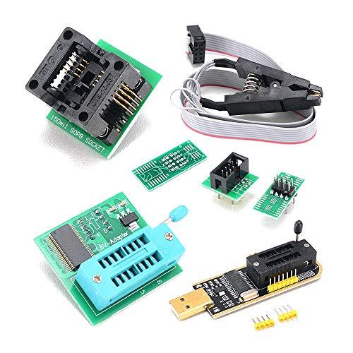 Festnight CH341A Kit de programador USB con SOP8 Clip EEPROM Quemador BIOS Flasher SPI Flash Kit de programador con adaptador de 1.8V y enchufe SOP8 de 150 mil para la serie 24/25