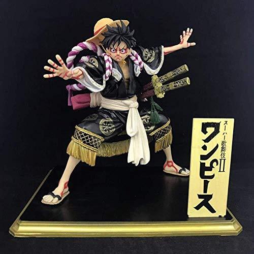 Ikw-love Anime PVC Een Stuk Patroon Kimono Zwart Luffy Anime standbeeld Collectie standbeeld Office Decoratie Model standbeeld (18 5cm)