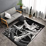 Cozy Slip Resistant Indoor Modern Area Rugs Fluffy Living Room 3D Pirate Skull Black Carpets/Suitable for Children Amusement Bedroom Home Decor Nursery Rugs 3 Feet by 5 Feet
