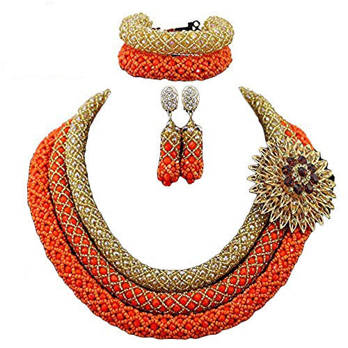 3 Rows Handmade Nigerian African Crystal Beads Jewelry Set Costume Bridal Necklace (Gold and orange)