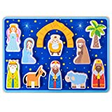 Piece on Earth Nativity Puzzle Board | Children's 11 pc. Chunky Wooden Inset Shapes | First Christmas, New Testament Christian Bible Story Toy for Advent, Religious Holidays, and Learning