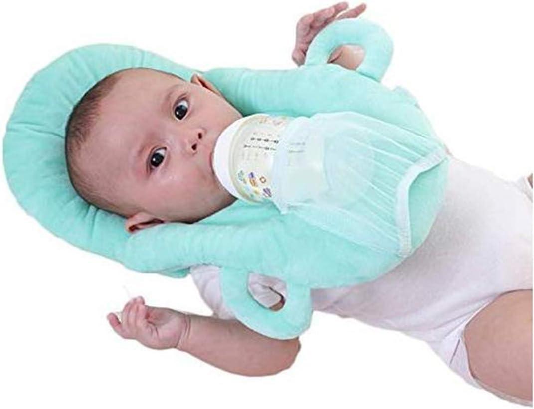 Baby Detachable Feeding Pillows Anti Roll Prevent Flat Self Feeding Nursing Pillow Portable Breast Feeding Pillows (Blue)