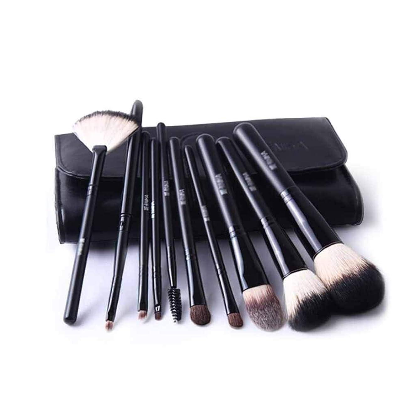 症候群鎖シンクQiyuezhuangshi001 化粧ブラシ、10個の化粧ブラシセット、プロの化粧と初心者用化粧ツール、高品質の動物の毛、柔らかく快適,人間工学に基づいたデザイン (Color : Black, Quantity : 10)
