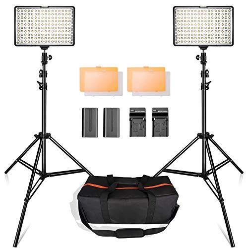 SAMTIAN 160LEDビデオライト照明キット スタジオ撮影ライト 78.74インチ/2M三脚 3200/5500Kビデオ写真ライ...