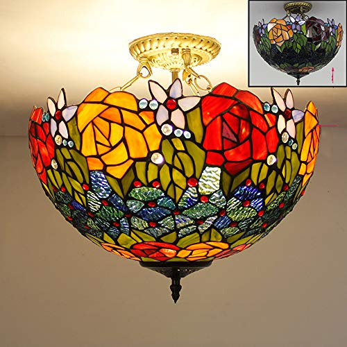 Tiffany stijl plafond hanglamp gekleurd glas lampenkap LED anti-plafond, creatieve woonkamer slaapkamer keuken kroonluchter hanglamp 110-240V,H