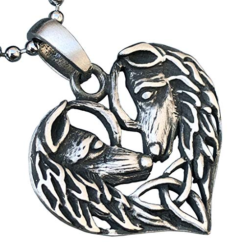 Celtic Wolf Couple Love Heart Jewelry Triquetra Native American Indian totem werewolf Asatru Viking Pagan Pewter Women's Men's Pendant Necklace Charm Protection Amulet for men women Silver Ball Chain