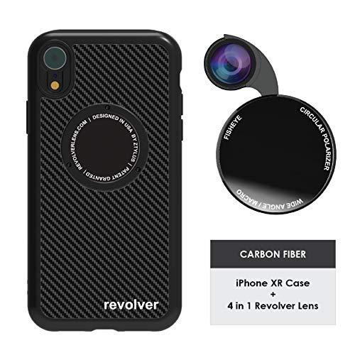 Ztylus Designer Revolver M Series Camera Kit: 4 in 1 Lens + iPhone XR Case, Smartphone Lens Kit Accessory – Fisheye Lens, Wide Angle Lens, Macro Lens, CPL (Black Carbon Fiber)
