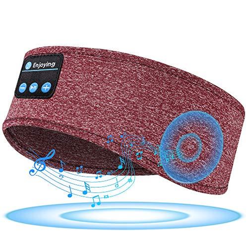 Sleep Headphones Sleeping Headphones Bluetooth, Bluetooth Headband Headphones with Built-in Thin Speakers, Comfortable for Sleeping Running Yoga (Maroon)