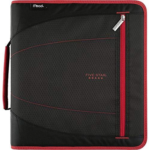 Five Star 2 Inch Zipper Binder, 3 Ring Binder, Removable File Folders, Durable, Red/Black (29036CE8)