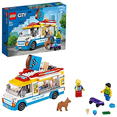 LEGO60253CityGreatVehiclesIce-CreamTruckToywithSkaterandDogFigure forKids5+YearOld by LEGO