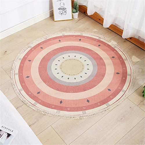 SWECOMZE Alfombra redonda con flecos, antideslizante, fácil de limpiar, diseño bohemio, algodón, para salón o dormitorio (110 cm)