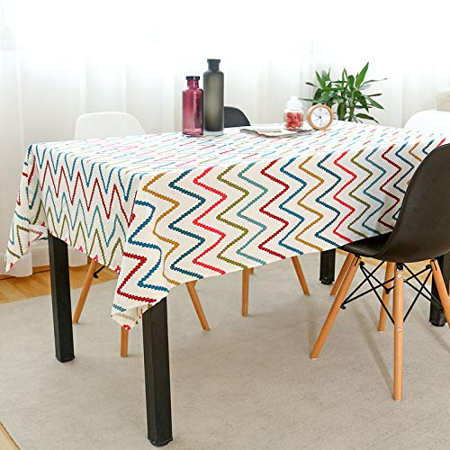 HTUO Tablecloth Christmas Decoration Washable Linen Fabric Dining Table Covers Party Table Cloths Geometric Style Table Cover Wrinkle Free Anti Fading Table Cloth Living Room 90 * 90cm