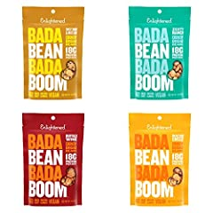 Contains 4 3 ounce bags of roasted broad (fava) bean crisp snacks 4 New Flavors Variety Pack, 1) Zesty Ranch, 1) Sweet Onion & Mustard, 1) Nacho Cheeze, 1) Buffalo Wing Non-GMO, Gluten-Free, Vegan & Kosher Snack 100 calories, 7g of protein, 5g of fib...