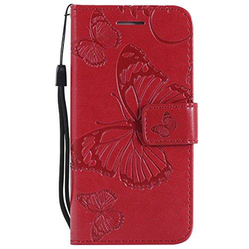 DENDICO Cover iPhone 5, Cover iPhone 5s, Cover iPhone SE, Pelle Portafoglio Custodia Custodia a Libro con Funzione di appoggio e Porta Carte di cRossoito - Rosso