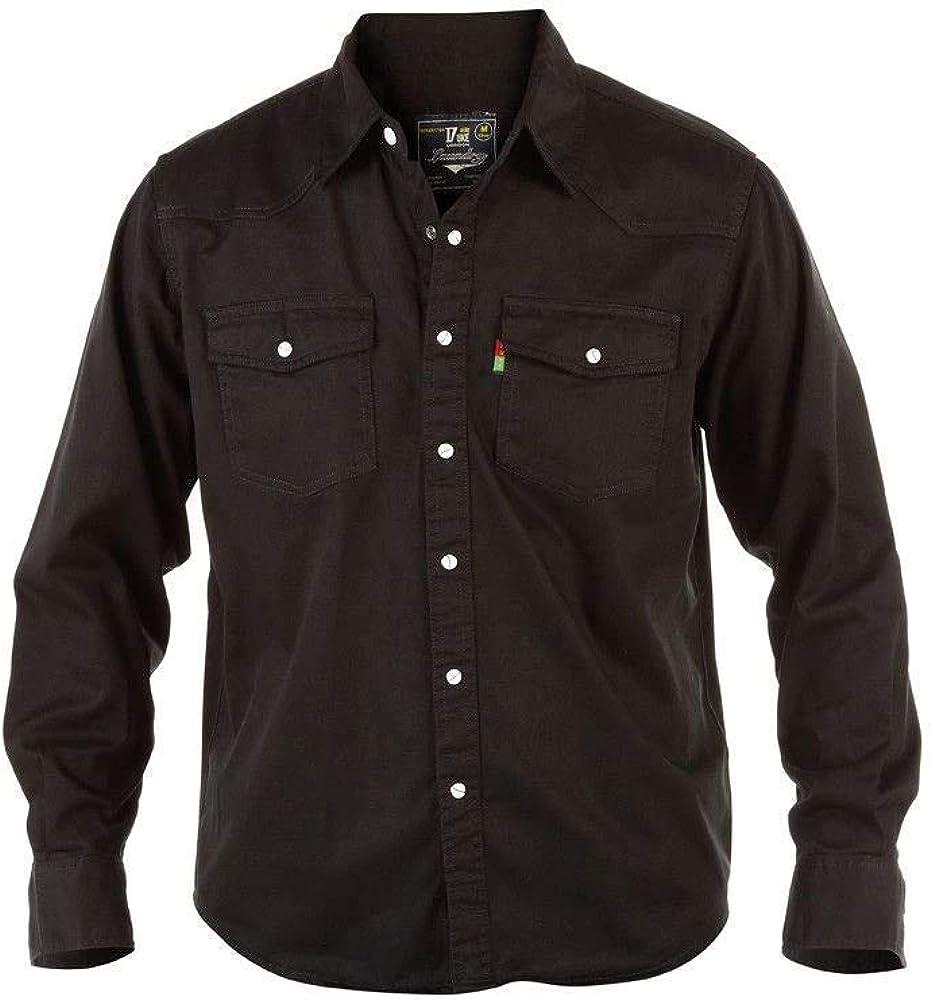 Übergröße King Größe Herren Duke Western Blau Langarm Stonewashed Jeans Hemd