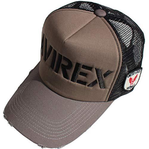 (アヴィレックス) AVIREX CAP AVIREX CAP バイカラー シンプルロゴ&エンブレムワッペン メッシュキャップ 帽子 アビレックス 男女兼用 メンズ レディース (ブラック)