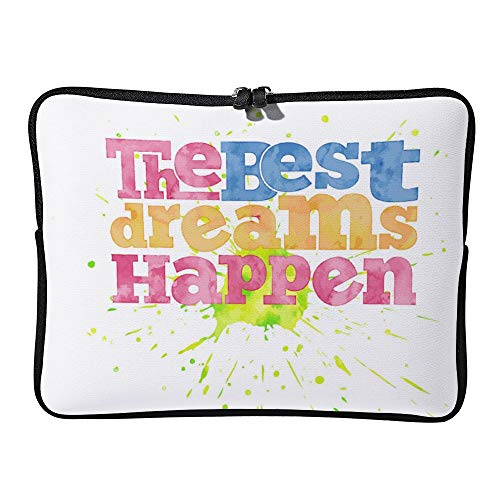 The Best Dreams Happen Quote On Watercolor Laptop Sleeve for Women Notebook Computer Laptop Case Bags for Christmas Birthday Gifts 15-15.6 Inch
