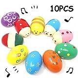 10 Stück Farbig Holz Egg Maracas Musik Percussion Baby Kids Kinder Spielzeug Egg Shaker (Random...