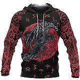 Viking Crow Hoodie, 3D Printing Norse Mythology Rune Men's Blood Red Tattoo Streetwear Loose Pullover Fall Unisex Casual Plus Size Sportswear,Hoodie,XL
