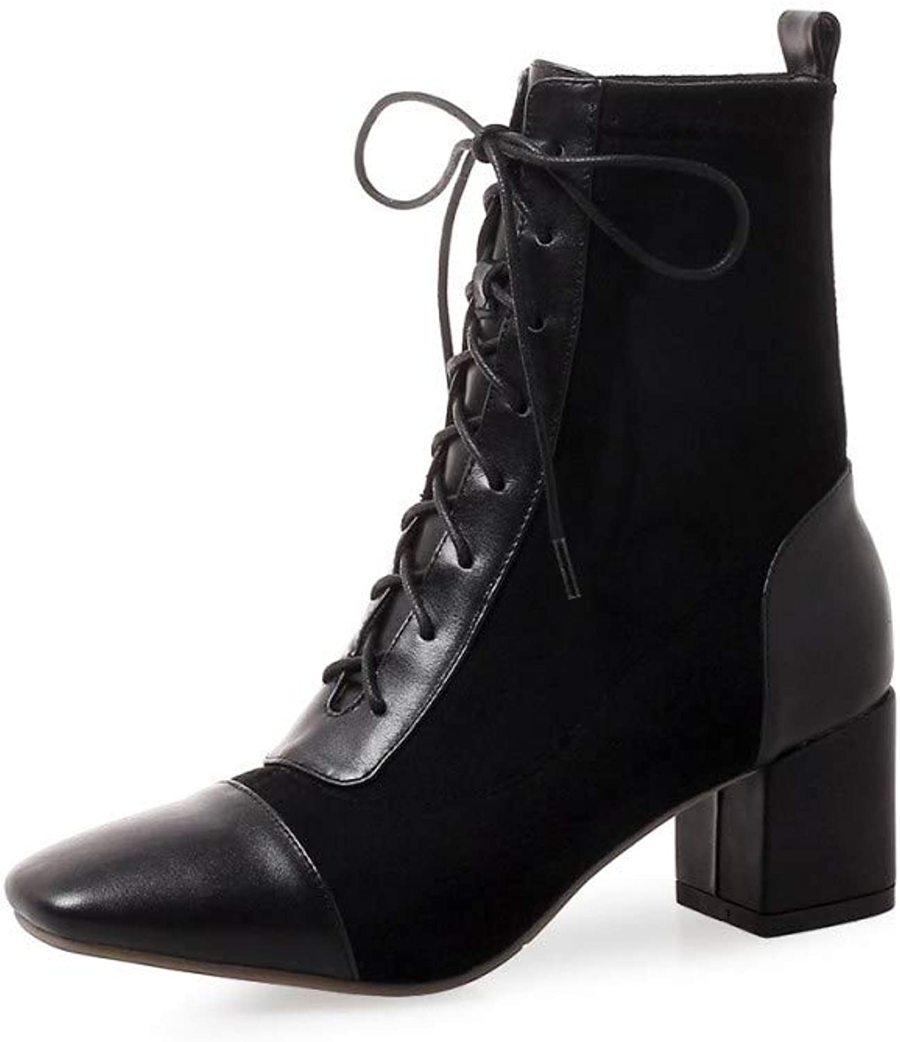 Nine Seven Genuine Leather Women's Square Toe Chunky Mid Heel Lace up Handmade Graceful Dress Mid-Calf Boots