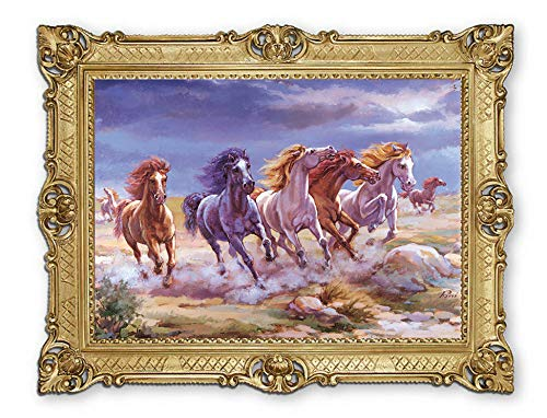 Lnxp - Marcos barrocos, 90 x 70 cm, artista, Rini ́ ́ ́ ́ ́ de caballos en libertad ¨ ́ ́ ́ ́ ́ cuadro barroco antiguo Repro Renaissance