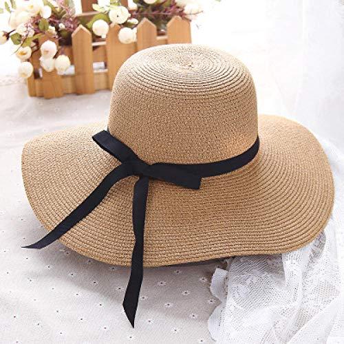 Sun Hat Straw Hat Round Wide Brim Straw Hats Sun Hats For Women With Leisure Beach Hats-Khaki