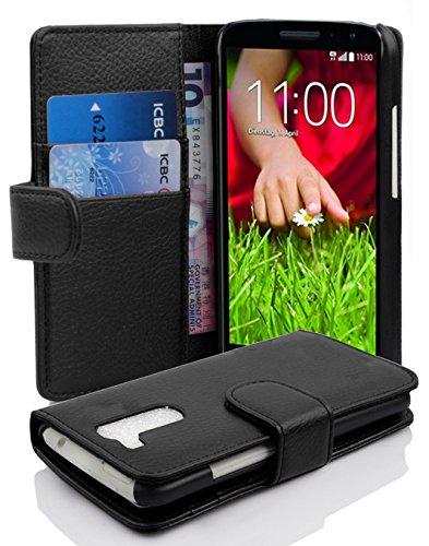 Cadorabo Hülle für LG G2 Mini - Hülle in Oxid SCHWARZ – Handyhülle mit Kartenfach aus struktriertem Kunstleder - Hülle Cover Schutzhülle Etui Tasche Book Klapp Style