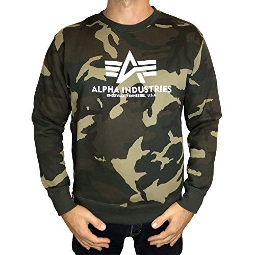 ALPHA INDUSTRIES Mens Sweater Basic Sweatshirt, Woodland Camo, XXL